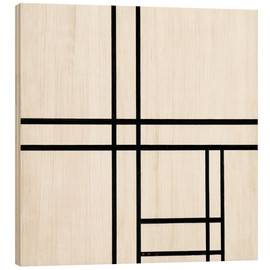 Hout print  Composition in White, Black, and Red - Piet Mondriaan