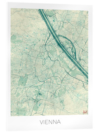 Acrylglas print  Map of Vienna, blue - Hubert Roguski