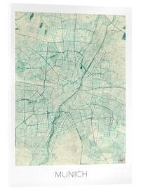 Acrylglas print  Map of Munich (blue) - Hubert Roguski