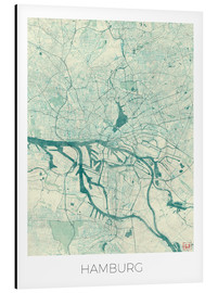 Aluminium print  Hamburg, Germany map blue - Hubert Roguski