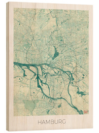 Hout print  Hamburg, Germany map blue - Hubert Roguski