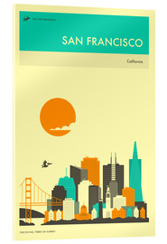Acrylglas print  SAN FRANCISCO TRAVEL POSTER - Jazzberry Blue
