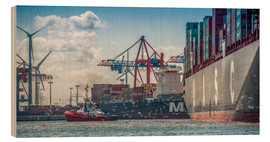 Hout print  Fish market, port, container terminal - Ingo Boelter