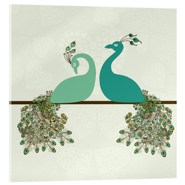 Acrylglas print  two peacocks
