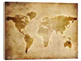 Hout print  Vintage world map