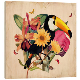 Hout print  Oh My Parrot XII - Mandy Reinmuth