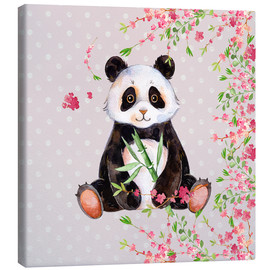 Canvas print  Little panda bear with bamboo and cherry blossoms - UtArt