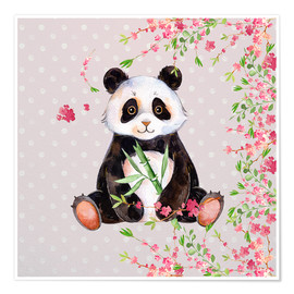 Premium poster  Little panda bear with bamboo and cherry blossoms - UtArt