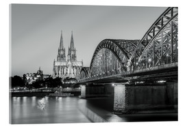 Acrylglas print  Cologne at night, black and white - Michael Valjak