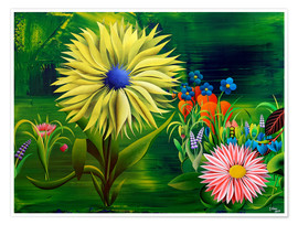 Premium poster Flowers, abstract