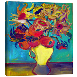 Canvas print  Sunflower in front of turquoise wall - Diego Manuel Rodriguez