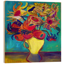 Hout print  Sunflower in front of turquoise wall - Diego Manuel Rodriguez