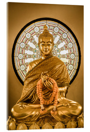 Acrylglas print  Buddha statue and Wheel of life background