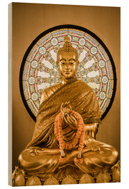 Hout print  Buddha statue and Wheel of life background