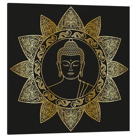 Aluminium print  Buddha in golden bloom