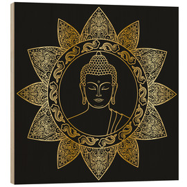 Hout print  Buddha in golden bloom