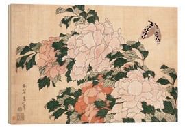 Hout print  Peonies and a butterfly - Katsushika Hokusai