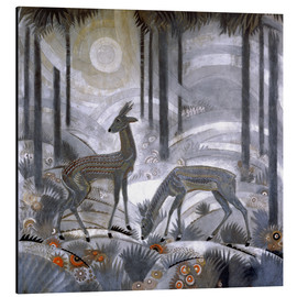 Aluminium print  Two deer in the woods - Jean Dunand