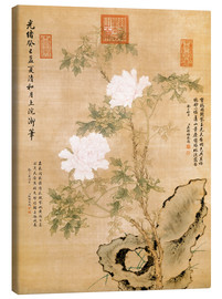 Canvas print  Peonies and Rock - Chinese School