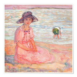 Premium poster Woman in the Pink Dress by the Sea