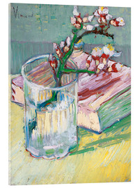 Acrylglas print  Flowering almond branch in a glass with a book - Vincent van Gogh