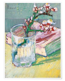 Premium poster  Flowering almond branch in a glass with a book - Vincent van Gogh