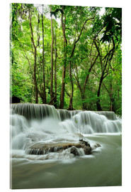 Acrylglas print  Waterfall in forest of Thailand