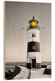 Hout print  Lighthouse with yellow light