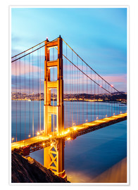 Premium poster  Dawn on the Golden gate bridge, San Francisco, USA - Matteo Colombo