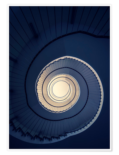 Premium poster Spiral Staircase in blue colors