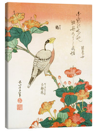 Canvas print  Mirabilis jalapa and grosbeak - Katsushika Hokusai