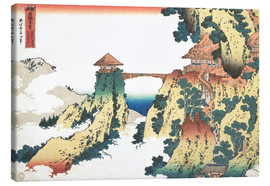 Canvas print  The Hanging-cloud bridge at Mount Gyodo, Ashikaga - Katsushika Hokusai