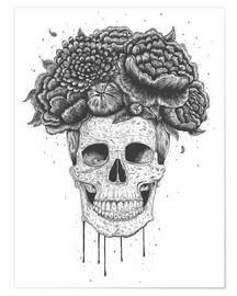 Premium poster Skull with flowers