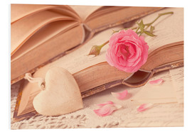 PVC print  Rose and the old books - Elena Schweitzer