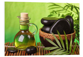 PVC print  Spa still life with hot stones and essential oil - Elena Schweitzer