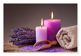 Premium poster  Spa still life with candles and lavender - Elena Schweitzer