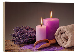 Hout print  Spa still life with candles and lavender - Elena Schweitzer