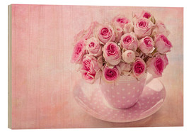 Hout print  Roses in a cup - Elena Schweitzer
