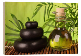 Hout print  Spa still life with hot stones and essential oil - Elena Schweitzer