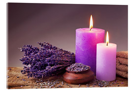 Acrylglas print  Spa still life with candles and lavender - Elena Schweitzer