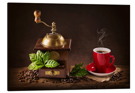Aluminium print  Coffee mill with a cup of coffee - Elena Schweitzer