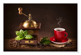 Premium poster Coffee mill with a cup of coffee