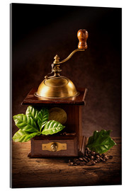 Acrylglas print  Coffee mill with beans and green leaves and a cup of coffee - Elena Schweitzer