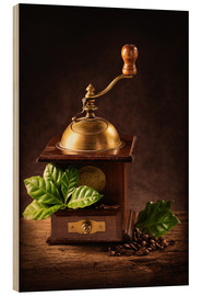 Hout print  Coffee mill with beans and green leaves and a cup of coffee - Elena Schweitzer