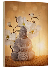 Hout print  Buddha statue and orchid - Elena Schweitzer
