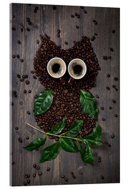 Acrylglas print  Coffee owl from beans, leaves and cups - Elena Schweitzer