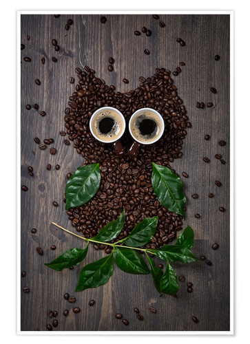 Premium poster Coffee owl from beans, leaves and cups