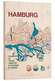 Hout print  Hamburg city motif map - campus graphics