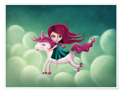 Premium poster Illustration with a unicorn with a girl