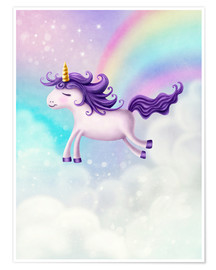 Premium poster Unicorn with rainbow